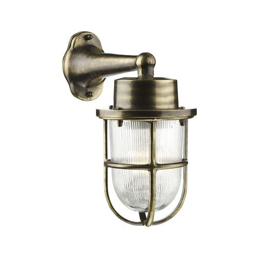 David Hunt Lighting, Harbour 1 Light Down Wall Light Antique Brass IP64, HAR1575 (7-10 day Delivery)